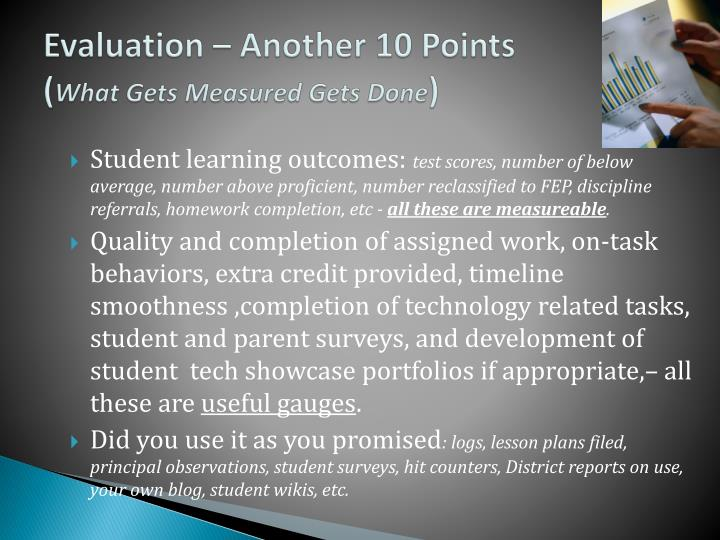 Evaluation – Another 10 Points
