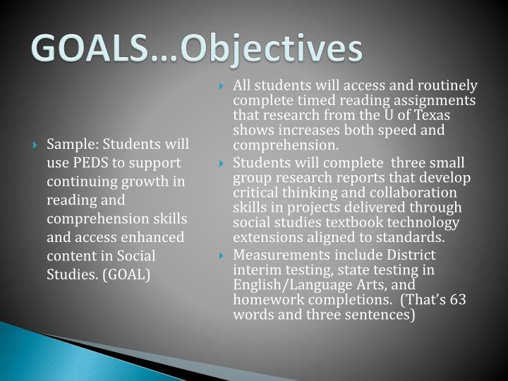 GOALS…Objectives