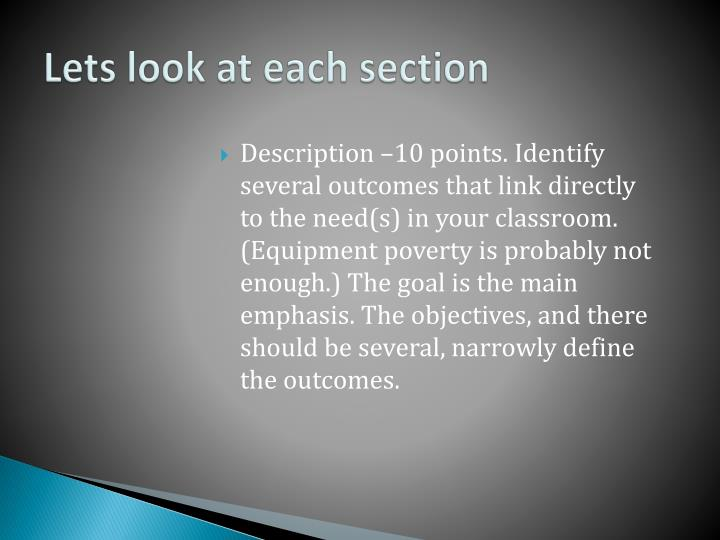 Description –10 points. Identify several outcomes that link directly to the need(s) in your classroom. (Equipment poverty is probably not enough.) The goal is the main emphasis. The objectives, and there should be several, narrowly define the outcomes.