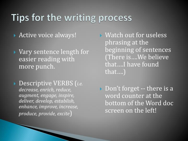 Tips for the writing process