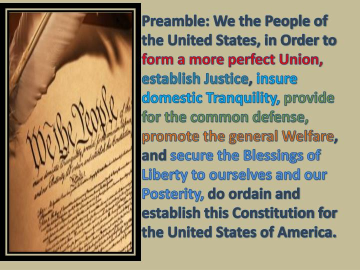 Preamble: We the People of the United States, in Order to