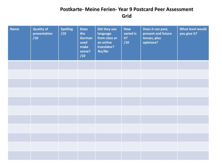 Postkarte meine ferien year 9 postcard peer assessment grid