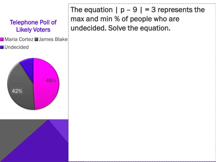 The equation | p – 9 | = 3 represents the max and min % of people who are undecided. Solve the equation.