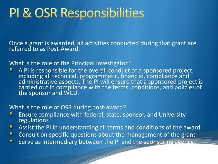PI & OSR Responsibilities