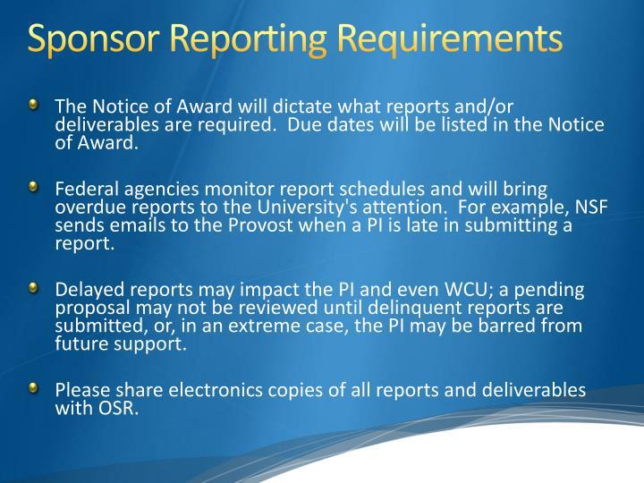 Sponsor Reporting
