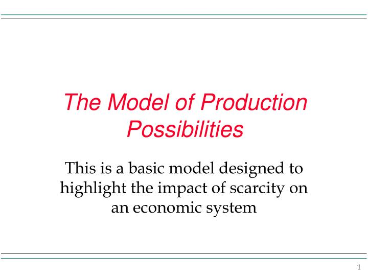 The model of production possibilities