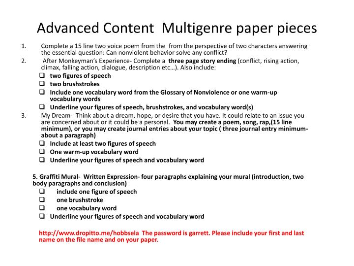 Advanced content multigenre paper pieces