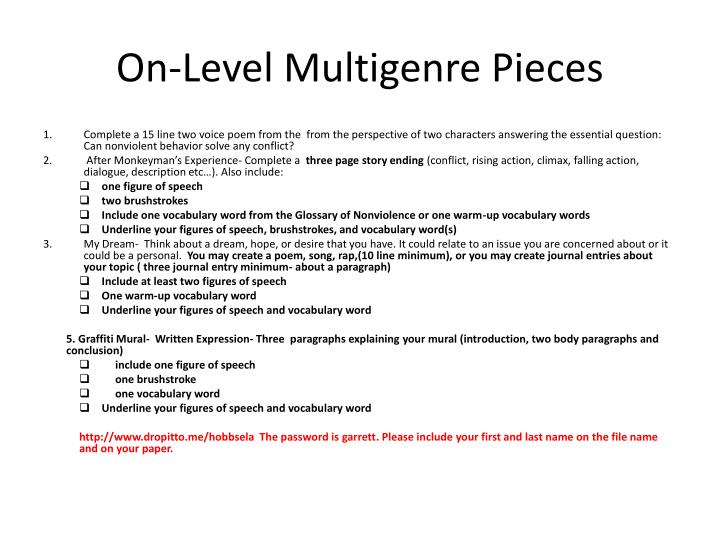 On level multigenre pieces