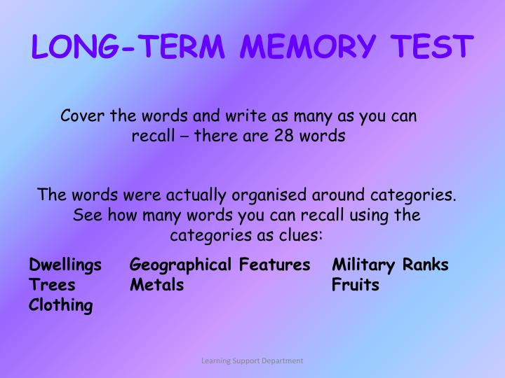LONG-TERM MEMORY TEST