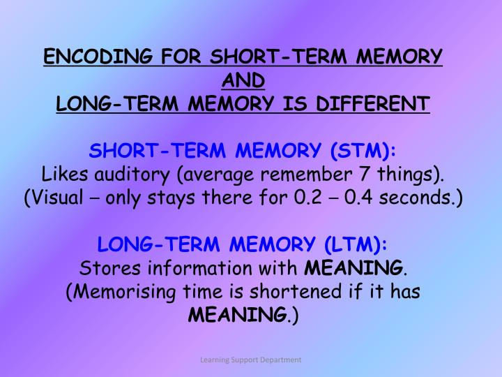 ENCODING FOR SHORT-TERM MEMORY AND
