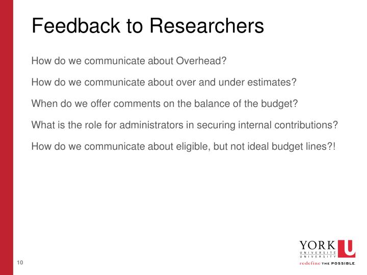 Feedback to Researchers