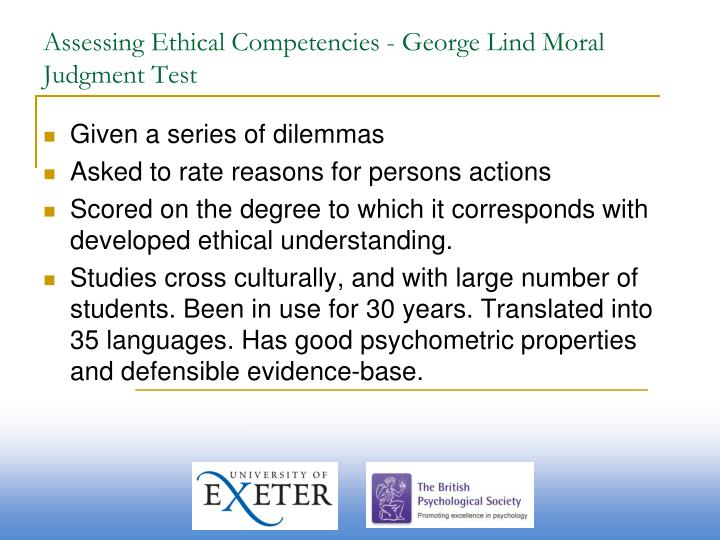 Assessing Ethical Competencies - George Lind Moral Judgment Test