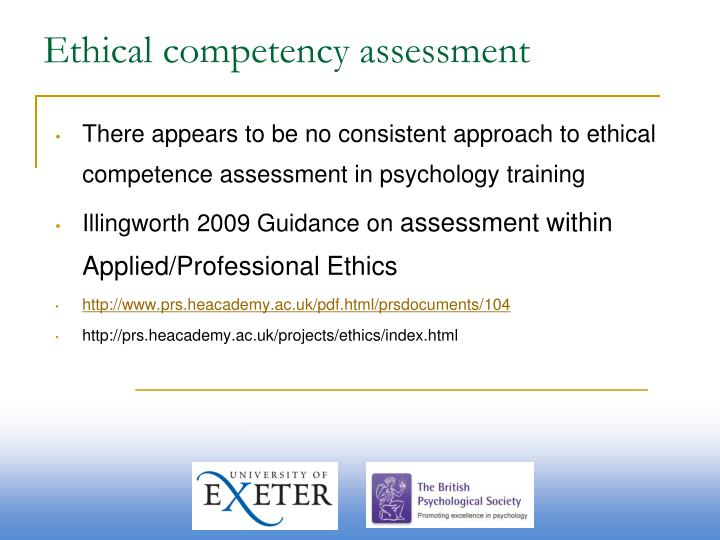 Ethical competency assessment