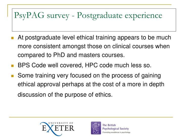 PsyPAG survey - Postgraduate experience