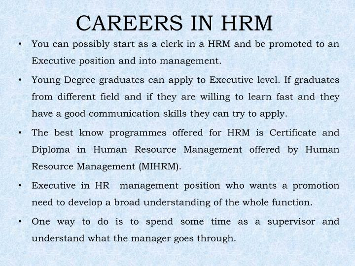 CAREERS IN HRM