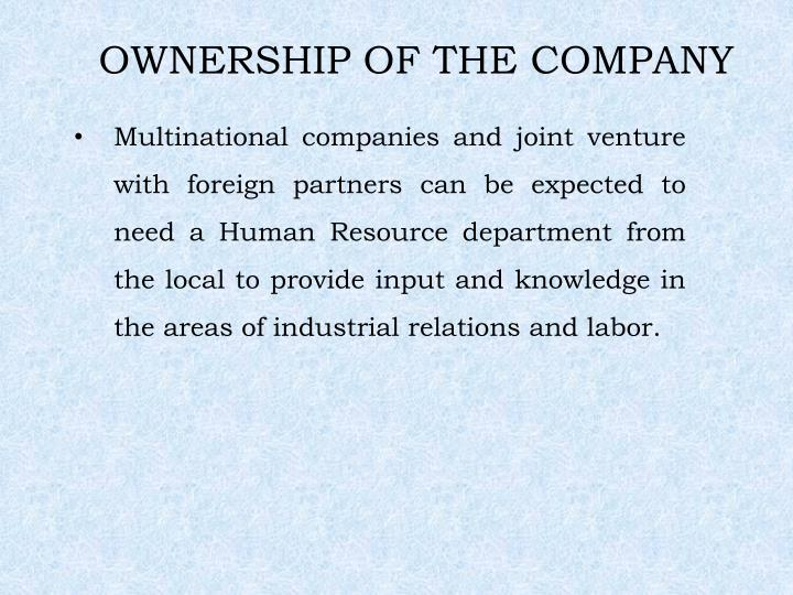 OWNERSHIP OF THE COMPANY