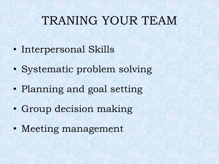 TRANING YOUR TEAM
