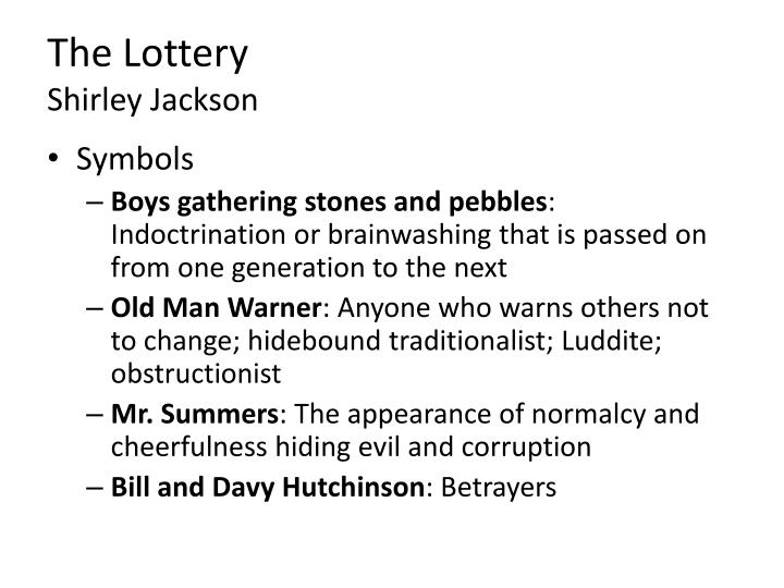 "irony essay lottery shirley jackson In ""the lottery"", shirley jackson uses foreshadowing, symbolism, and irony  throughout her story to show that death is imminent in the end not only do time  and."