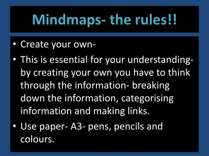 Mindmaps- the rules!!