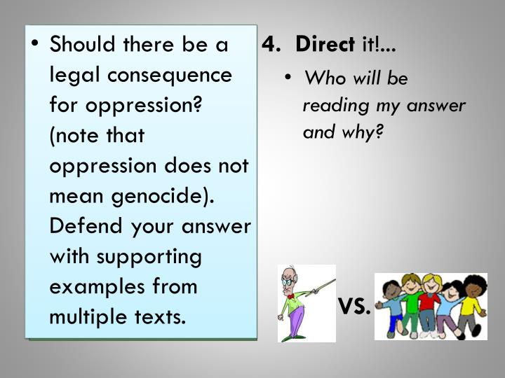 Should there be a legal consequence for oppression? (note that oppression does not mean genocide).  Defend your answer with supporting examples from multiple texts.