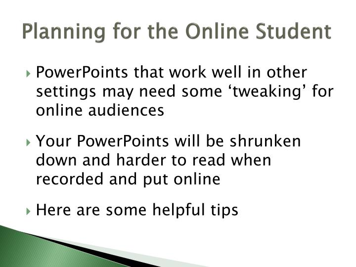 Planning for the online student