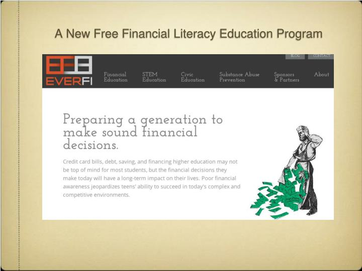 A New Free Financial Literacy Education Program
