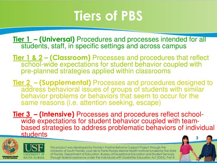 Tiers of PBS