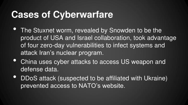 Cases of Cyberwarfare