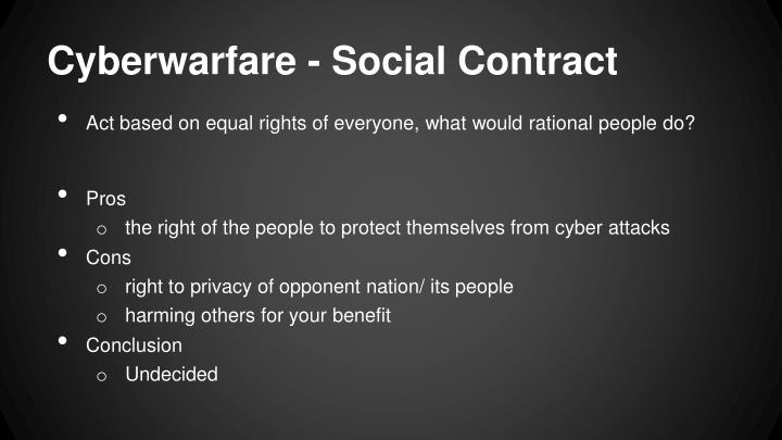Cyberwarfare - Social Contract