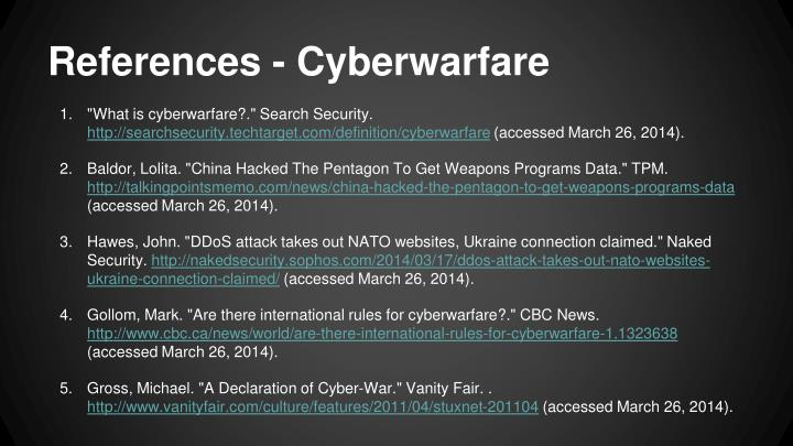 References - Cyberwarfare