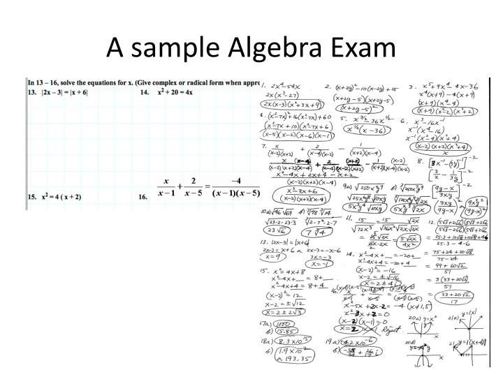 A sample Algebra Exam