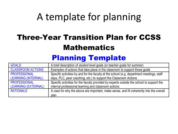 A template for planning