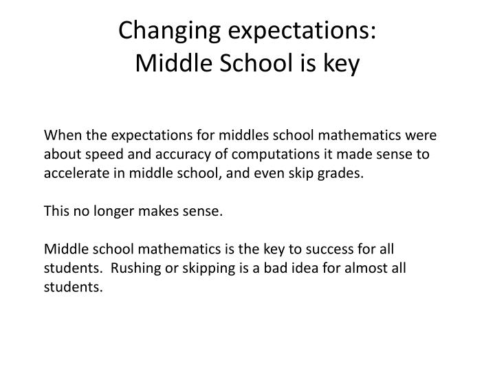Changing expectations: