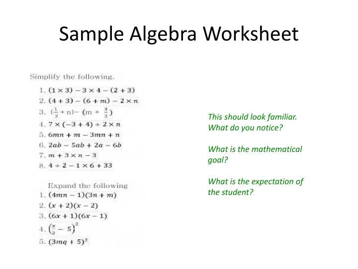 Sample Algebra Worksheet