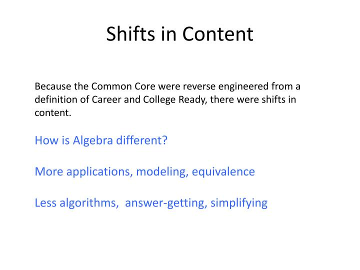 Shifts in Content