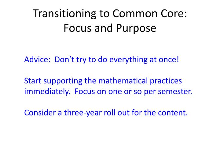Transitioning to Common Core: