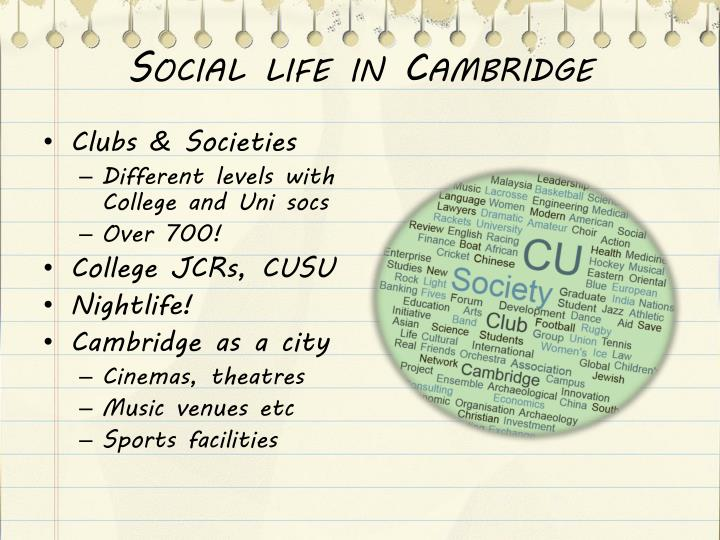 Social life in Cambridge