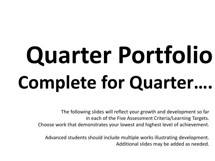 Quarter Portfolio