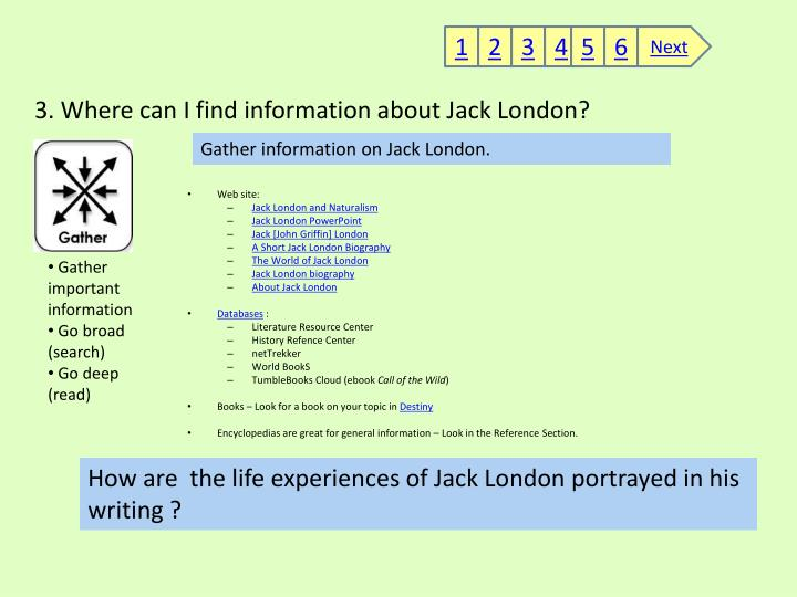 3. Where can I find information about Jack London?