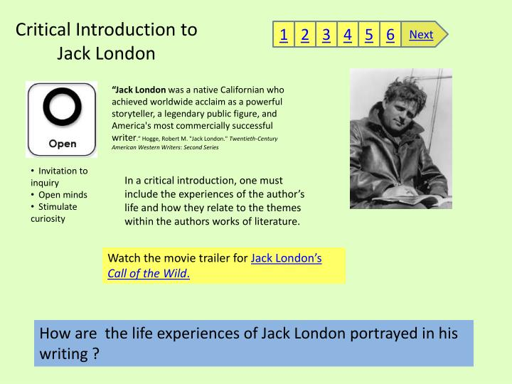 Critical introduction to jack london