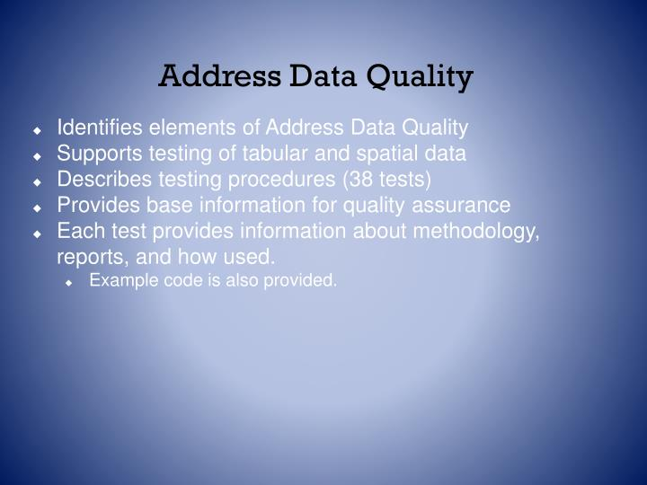 Address Data Quality