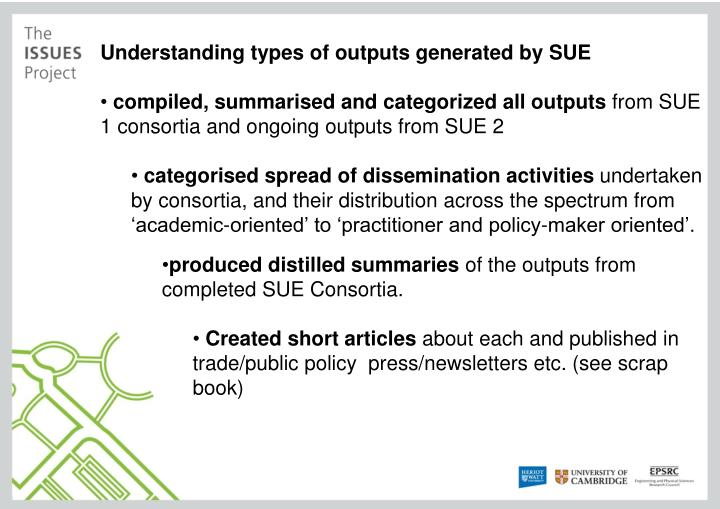 Understanding types of outputs generated by SUE
