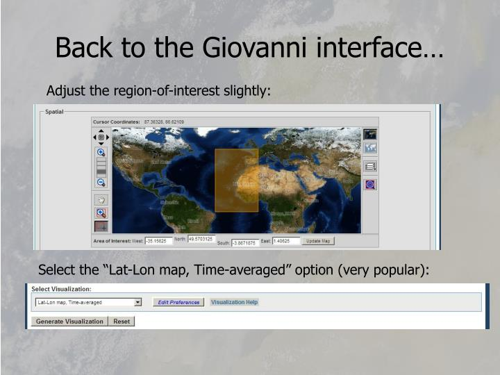 Back to the Giovanni interface…