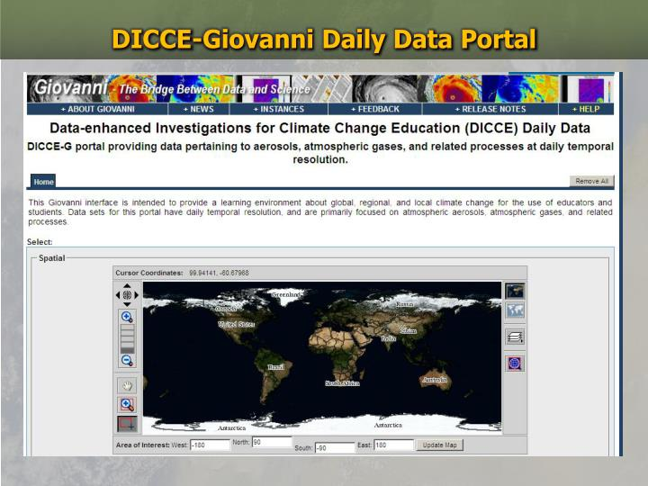 DICCE-Giovanni Daily Data Portal
