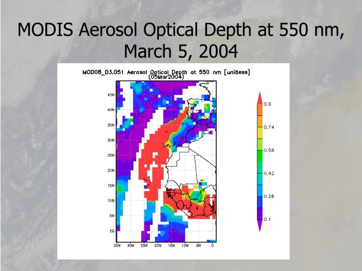 MODIS Aerosol Optical Depth at 550 nm,