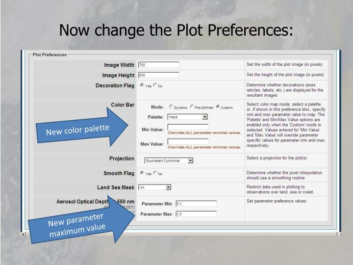 Now change the Plot Preferences:
