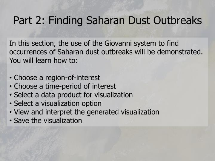Part 2: Finding Saharan Dust Outbreaks
