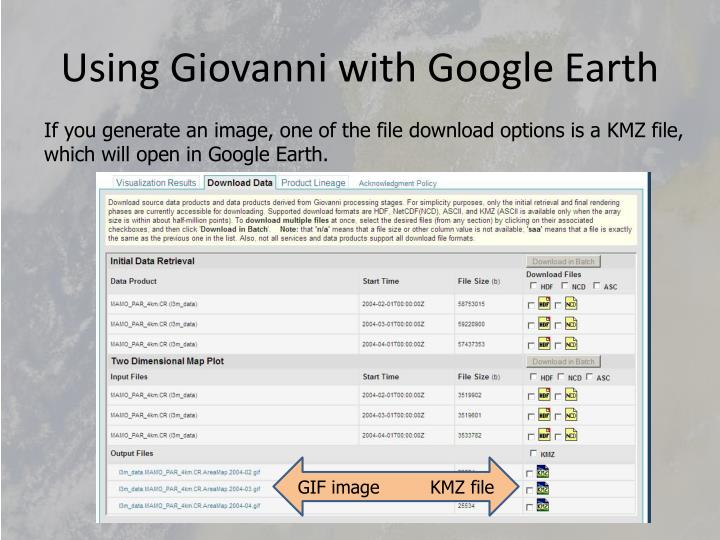 Using Giovanni with Google Earth