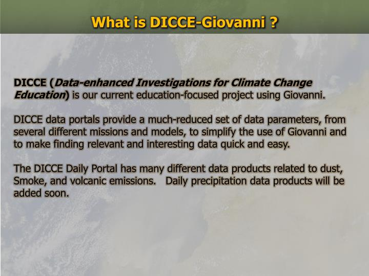 What is DICCE-Giovanni ?