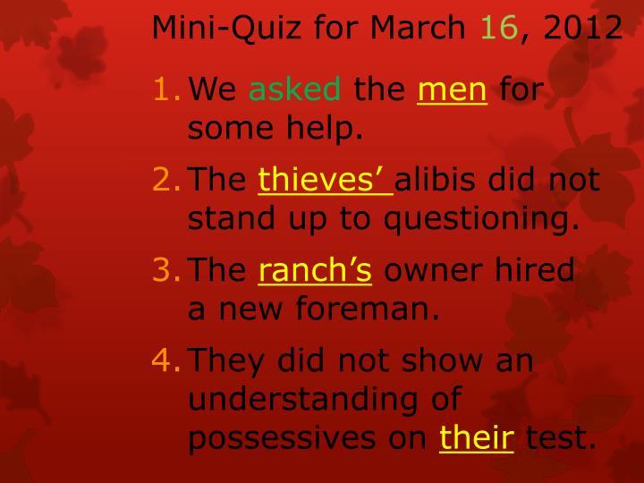 Mini-Quiz for March